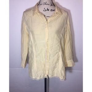 J Jill Button Down Shirt Lace Trim
